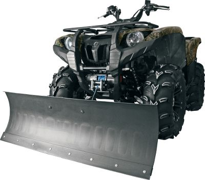 "Motorsports A drive-in ATV snowplow with do-it-yourself installation. The all-season push frame mounts on all ATV frames from 2002 through 2012 (except Can-Am models). Rugged 52L x 16H RibCore poly blade. Includes a quick-attach blade adapter, two-way steel wear bar, skid shoes, dual trip springs and a five-position pivot. Requires a winch or Manual Quick Lift (not included).Available: 52, 60. Type: Plows. 52"" Plow. - $499.99"
