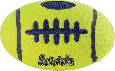 Hunting Throw your best receiver a few long bombs with this squeaking dog toy. Covered in a nonabrasive tennis-ball fabric thats gentle on teeth and gums. Recessed in durable rubber, this bouncing ball will last for seasons of active play. Made in USA. Dimensions: 5L x 3W. Type: Dog Toys. - $9.99