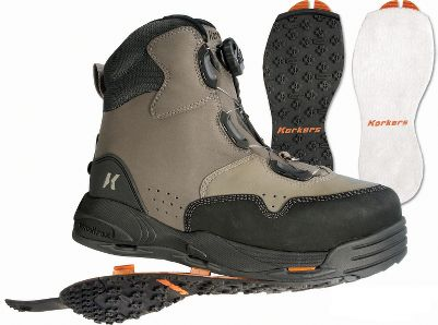 Flyfishing Blends traditional styling and innovative technology. OmniTrax 3.0 Interchangeable full-perimeter traction outsoles and waterproof materials help fight invasive species. Strategically placed stitch lines help eliminate seam failure. Boa lacing system for quick, one-handed adjustment. Includes both felt and Kling-On interchangeable soles. Imported. Mens whole sizes: 8-13. Color: Sage. - $129.88