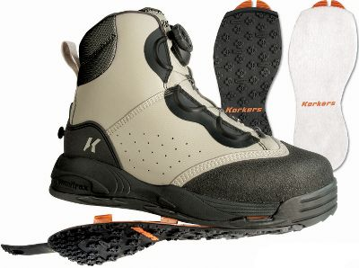 Flyfishing Top-of-the-line interchangeable-sole boots from Korkers. OmniTrax 3.0 interchangeable full-perimeter traction outsoles help fight invasive species. Seamless toe guards, integrated midsole drainage ports and the same type of sleek ultradurable synthetic material used in whitewater rafts all work to reduce water absorption, keeping boots light. Cinch down the Boa lacing system with one hand for a custom fit. Includes both felt and Kling-On interchangeable soles. Imported. Mens whole sizes: 8-13.Color: Gray. - $179.88