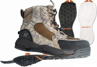 Flyfishing Double-duty boots for hunting and fishing. OmniTrax 3.0 Interchangeable Sole System increases versatility for adaptable traction. Waterproof materials reduce absorption and dry fast to help eliminate the spread of invasive species. Integrated midsole drainage ports draw out water keeping boots light. Quick Cinch lace system ensures a quick and secure customized fit. Includes both felt and Kling-On interchangeable soles. Imported. Mens whole sizes: 8-13.Color: Korkers Kamo. - $99.88
