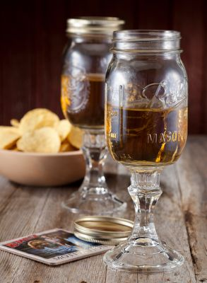 Entertainment Add a little class to your dinner table and impress your redneck friends and neighbors with Kountry Krystal mason-jar stemware. Great for backyards, pig roasts and fancy shindigs alike. Comes with coasters. - $24.99