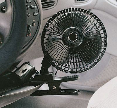 Motorsports Anytime you need extra airflow in your car, truck or RV, just plug in one of these fans and enjoy the breeze. The heavy-duty clamp secures it to your dashboard or console. Can be used in oscillating or stationary modes. Single-speed motor. Replaceable fuse. Plugs into any vehicles 12-volt power source. 8-ft. power cord.Size: 6 diameter. Type: Interior Accessories. - $7.88
