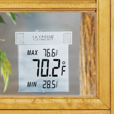 This compact and convenient LCD window thermometer keeps track of the temperature outside in degrees Fahrenheit (degF) and displays it in a large, easy-to-read format along with the high and low temperature for the day. It's a simple, clear and functional window-mounted design that's weather-resistant and is easily removed when it's time to clean the window. Dimensions: 4 x 3-3/4 x 7/8 . Color: Clear. Gender: Male. Age Group: Adult. - $14.99