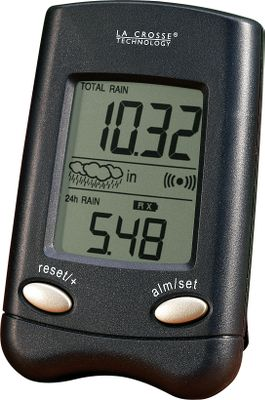 "You'll always know how much rain has fallen and you won't have to go out in a downpour to keep track. Instant Transmission is the latest wireless transmitting technology exclusively developed and designed by La Crosse Technology. It completely updates and transmits outdoor weather readings every six seconds so that you can monitor meteorological changes as they happen. The self-emptying rain collector can be mounted up to 330 ft. away from the receiver in your home. You can set an alarm to inform you when a certain amount has fallen between 0"" and 4"" in a 24-hour period. A rainfall indicator lets you know how fast it's coming down from a light shower to a major rain event with display icons. Receiver uses two AAA alkaline batteries (not included). Remote rain sensor uses two AAA alkaline batteries (not included). Receiver dimensions: 3.85""H x 2.45""W x .95""D. - $9.88"