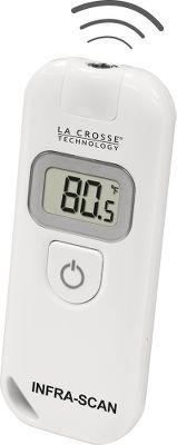Using infrared technology, this handheld thermometer measures the surface temperature of any object from a distance. Simply point, click and get a temperature reading in less than a second. Check for hotspots while working on engines. Get readings on hard-to-reach surfaces. Hold the button for ongoing readings. Distance to target diameter ratio is 1:1. Accurately measure temperature from -27.4F to 390.2F. Automatic, 15-second shut-off. Low-battery icon. Includes a CR2032 lithium coin-cell battery.Dimensions: 3.6L x 1.4W x 0.5H. - $19.88