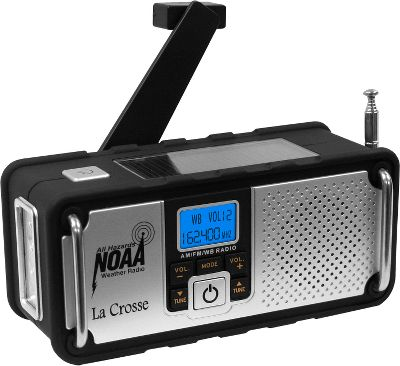 Camp and Hike Technology has produced many tools that predict and track dangerous weather situations, but that does no good unless you can receive the alerts being sent. This portable weather radio has all the bases covered, from the information received to how you are alerted and how the radio is powered. While you use the radio as a recreational AM/FM unit, the seven NOAA weather and emergency bands are monitored. If an alert is issued, the radio automatically switches the audio to broadcast the alert and the normally blue backlight LED will change to red. That means that even in low-volume situations you will be warned at a glance that an emergency situation is occurring. The solar-power panel powers the unit while you are in the backyard or camping. But when needed, the unit can be powered by the rechargeable 600 mAh lithium-ion battery (included) that has twice the charging capacity of the competitions. It can also be charged through your computer with a standard mini USB cable. The hand-crank option will provide 30 minutes of use after just one minute of cranking. This indispensible emergency radio also does double duty, serving as an integrated high-intensity LED flashlight.The rugged design incorporates stainless steel bars to create a heavy-duty framework. Telescoping antenna and 3.5mm earphone jack. One-year warranty.Dimensions: 5.5L x 2.375W x 2.5H. - $39.99
