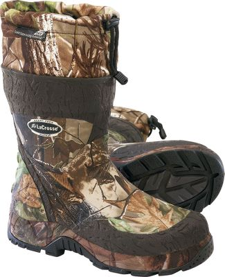 "Hunting With neoprene for a personalized fit, your feet will be equipped to stay out as long as it takes to get your hard-earned trophy. 100% waterproof, ozone-resistant, rubber-over-neoprene construction teams with leakproof seams to keep feet dry in the wettest conditions. LaCrosse Scent-Suppressing technology and removable gaiters fight odor-causing bacteria. Advanced Traction System outsoles result in superior traction with no mud build-up. LaCrosse's Ankle Fit design enhances comfort by keeping these tall, heavy-duty, rubber boots from pulling loose in mud and also prevents rubbing and chafing. Nylon lining makes slipping into and out of the boots easier. Imported.Height: 12"".Average weight: 4.3 lbs./pair. Men's whole sizes: 8-14.Camo pattern: Realtree APG . - $94.88"