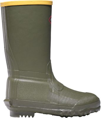 Hunting These boots for young hunters are ozone-resistant, abrasion-resistant and 100% waterproof. Their premium rubber compound has a high tensile strength, which means greater tear resistance and durability. Superior traction Chevron Cleated outsoles are self-cleaning to avoid tracking mud and dirt. A secure fit and added insulation for warmth provide comfort and safety. LaCrosse Ankle-Fit design features a narrowed ankle pocket that grips the top of the foot better and locks the heel in place preventing excess rubbing and chafing. Wool-felt midsoles and removable EVA footbeds provide insulation while adding plush cushioning. Imported. Ht: 9. Avg. wt: 2.5 lbs./pair. Kids whole sizes: 1-13. Color: Green. Size: 12. Color: Green. Gender: Female. Age Group: Kids. Pattern: Chevron. - $49.99