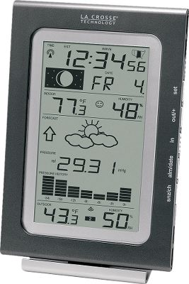 Entertainment Sportsmen know wildlife activity levels and movements are greatly influenced by moon phase and barometric pressure. Now you can use this weather station to track both the moon phase and barometric pressure to plan your next outing. Unit has a barometric tendency arrow and forecast icon based on changing barometric pressure. It has a 24-hour history graph of the relative barometric pressure. Wireless data for indoor and outdoor temperature and humidity. Records minimum/maximum humidity and temperature over time. (Batteries not included.) Imported. Receiver: 6-3/4H x 4-3/4W x 1D. Gender: Male. Age Group: Adult. Type: Weather Stations. - $41.88