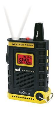 Camp and Hike When youre hiking, camping, boating or wherever you go, this handheld NOAA weather radio will keep you aware of oncoming weather events. Listen to seven different weather-band channels or the AM/FM radio to hear up-to-the-minute weather information and alerts. Not only that, the faces blue backlight changes to red during weather alerts. The built-in, push-button LED flashlight comes in handy during power outages. Extend the telescoping antenna for a strong, steady signal. The integrated IC Chip offers automatic frequency control and a dynamic bandwidth filter for ultraclear reception. Runs on three AA batteries or a 6-volt A/C adapter (not included). Includes a lanyard. Dimensions: 2.9H x 5.2W x 1.3D. Color: Blue. - $29.99