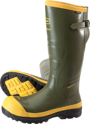 Hunting Perfect for work environments with hazardous chemicals and personal safety requirements, the SPOG rubber boots feature a seamless design with lightweight alloy toe protection. Chemically tested against 28 industry chemicals, including the most common ones found in the hydraulic-fracturing industry, the seamless exteriors are made of chemical-resistant, latex-dipped neoprene. SPOG chemical-resistant nitrile rubber-cup outsoles feature oil- and slip-resistant traction. Breathable mesh linings and removable EVA footbeds make them more comfortable during extended wear. Fiberglass shanks in the arches provide foot support. Adjustable gussets and straps on the calves ensure an even safer fit. Imported. Height: 16. Average weight: 5 lbs./pair. Mens whole sizes: 6-15. Color: Olive Green. Size: 15. Color: Olive Green. Gender: Male. Age Group: Adult. - $139.99