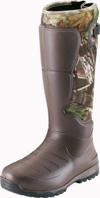 Hunting Lightweight, insulated and scent-free, these AeroHead rubber boots are comfortable and durable without extra bulk and weight. LaCrosse AeroForm technology a revolutionary liquid polyurethane thats shaped over 3.5mm neoprene is responsible for these boots light weight and flexibility to give you a glovelike fit. Brush Tuff bidirectional material makes them highly abrasion-resistant, and Armor Weld liquid rubber protective coating seals the seams. The design of the boots provides 100% waterproof protection and uncompromising scent protection. Quick-drying, moisture-wicking jersey knit liners help make them even more comfortable during extended wear. Injected polyurethane midsoles add cushioning, while integrated shanks in the arches provide support and stability over rigid and rocky terrain. Aero nonloading outsoles are made of a lightweight rubber compound for even more durability and traction in slippery conditions. Adjustable back gussets and straps help you customize the fit for your legs. Liners are 100% polyester. Imported. Height: 18. Average weight: 4 lbs./pair. Mens whole sizes: 6-15. Camo pattern: Realtree X-TRA Green. Size: 8. Color: Realtree Xtra. Gender: Male. Age Group: Adult. Material: Jersey. - $129.99