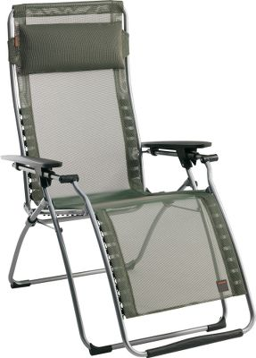 "Camp and Hike Enjoy the comfort of a quality recliner outdoors with the Clipper XL folding recliner. A series of elastic clips suspends the mattress in a way that delivers support across the entire chair. The plastic clips also allow easy removal of the fabric for cleaning. A proven zero-gravity reclining system employs easy-to-use tension levers under the armrests to recline the chair to the desired position. Lafumas durable Batyline fabric is made of polyester fiber covered with PVC coating to make it almost impossible to tear. The material resists rot, fading, UV rays and mildew, and its able to withstand temperatures ranging from -22F to 158F. It also resists snags and retains its original shape over time. Imported. Folded dimensions: 42"" x 30"" x 6"".Seat width: 23"".Weight: 21 lbs.Colors: Forest, Ocean. - $199.88"