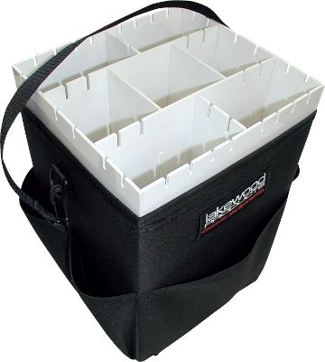 Fishing Convenient tackle-storage system that easily slips over your seat pedestal. Nine hanging compartments with 30 hook slots keep your favorite lures within easy reach. Outside pockets hold other tools and essential items. Heavy-duty construction withstands rugged use. Web handle for portability. Made in USA. Dimensions: 9-1/2L x 9W x 13-3/4H. - $89.99