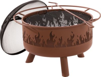 "Camp and Hike Purchase your next fire pit from a name youve come to know and trust. Constructed of heavy-duty, cold-rolled steel. Includes a mesh spark guard and poker. Imported.Dimensions: 29-1/2"" dia. x 17""H.Colors: Clay, Bronze(not shown). - $149.88"