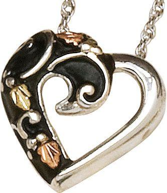 Entertainment Crafted by a jeweler specializing in Black Hills gold, this antiqued sterling silver pendant features a nature-inspired design. Includes an 18 silver rope chain. Made in the USA.Dimensions: 41/64L x 41/64W. - $59.99