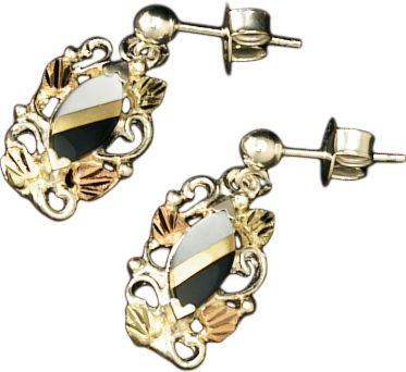 Entertainment Crafted by one of the leading jewelers specializing in Black Hills gold, these gold-and-silver earrings combine the natural beauty of these precious metals and striking onyx with a masterful, nature-inspired design. Made in USA.Dimensions: 49/64L x 23/64W. - $169.99