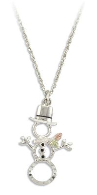 Entertainment Beautiful pendant features a cast, sterling silver snowman surrounded by a 12-kt. pink leaf and 12-kt green leaf. Sterling silver rhodium chain. Made in USA. Pendant dimensions: 3/4L x 1/3W. Chain length: 18. Color: Silver. Gender: Female. Age Group: Adult. - $69.99