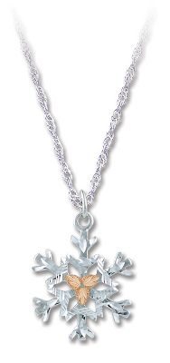 Entertainment Stunning pendant features a cast, sterling silver snowflake surrounded by three 12-kt. pink leaves. Sterling silver rhodium chain. Made in USA. Pendant dimensions: 1/2L x 1/3W. Chain length: 18. Color: Silver. Gender: Female. Age Group: Adult. Type: Necklaces. - $55.99