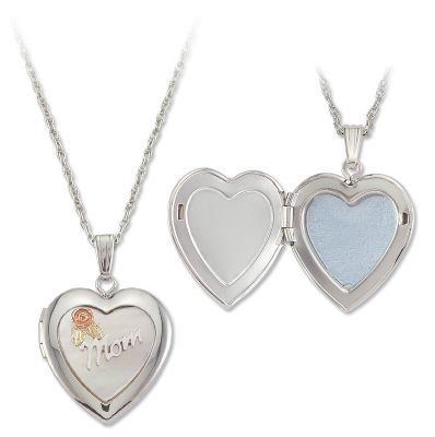 Entertainment This stunning, heart-shaped sterling silver locket features a small 10-kt. pink rose surrounded by two 12-kt. green leaves. Sterling silver rhodium chain. Made in USA.Pendant dimensions: 1/2L x 1/2W.Chain length: 18. - $149.99