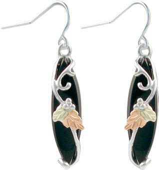 Entertainment Blooming from a silver vine, the green and pink 12-kt. leaves elegantly contrast against the deep marquise onyx stone. Stainless steel earrings include two shepherd hooks and two snugs. Earrings measure 5/16W x 13/16H. Made in USA. Color: Silver. Gender: Female. Age Group: Adult. Type: Earrings. - $115.99