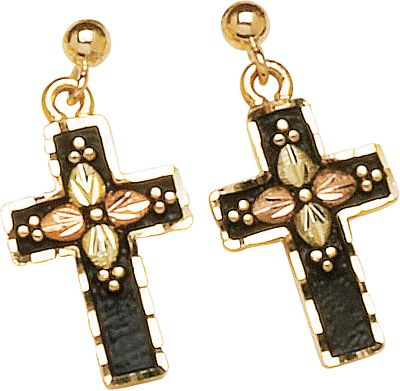 Entertainment Crafted by a jeweler specializing in Black Hills gold, these post-style earrings incorporate 10-kt. gold with beautiful, dark tones inspired by nature. Made in USA.Dimensions: 41/64L x 27/64W. - $319.99
