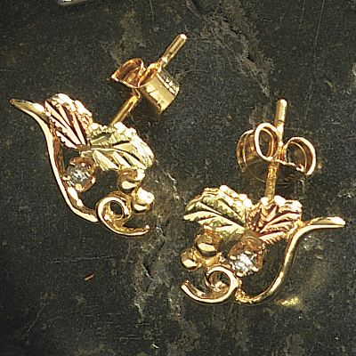 Entertainment These earrings combine the natural beauty of Black Hills gold with masterfully crafted designs from nature to create this exquisite line of jewelry. Each piece is handcrafted and has 14-kt. gold posts and ear nuts. - $149.99