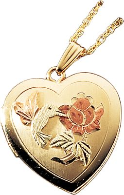 Entertainment This Heart-Shaped Hummingbird Locket combines the natural beauty of Black Hills gold with a masterfully crafted design from nature. The exquisite locket is 14-kt. gold filled and accented with gold leaves. Chain is 12-kt. gold filled. Made in USA. Chain length: 18. - $148.49