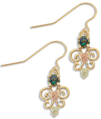 Entertainment Beautiful, handcrafted 10-kt.-gold earrings each feature a 4mm genuine mystic fire topaz stone cresting a butterfly-shaped set of scrolls. Green and pink 12-kt. Black Hills gold leaves embellish the scrollwork, and they elegantly suspend from 12-kt.-gold fishhooks. Come with rubber snug backs. Made in USA.Earring length: 3/4. - $287.99