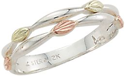 Entertainment Handcrafted by one of the leading jewelers specializing in Black Hills gold. Made of sterling silver, this unique and feminine ring is adorned by two green and three pink hand-engraved leaves made of 12-kt. gold. Rings double-banded-front design is 0.12H x 0.78W. Made in USA. Sizes: 4-10. Half sizes to 10. Size: 5. Color: Silver. Gender: Female. Age Group: Adult. Type: Rings. - $94.99