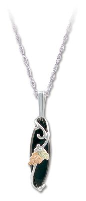 Entertainment Blooming from a silver vine, the green and pink 12-kt. leaves elegantly contrast against the deep marquise onyx stone. Pendant measures 5/16W x 13/16H and has an 18 stainless steel rhodium chain. Made in USA.Pendant dimensions: 5/16W x 13/16H.Chain length: 18. - $79.99