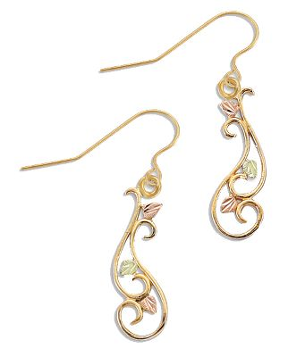 Entertainment 10-kt.-gold filigree scrolls are accented with green and pink 12-kt. Black Hills gold leaves. They suspend from 14-kt.-gold fishhooks, and come with clear rubber backings. Made in USA.Earring length: 3/4. - $219.99