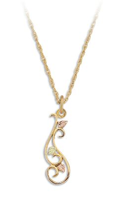Entertainment A 10-kt.-gold filigree scroll is daintily accented with green and pink 12-kt. Black Hills gold leaves. The pendant suspends from an 18 12-kt.-gold filled chain. Made in USA.Pendant length: 3/4. - $119.99