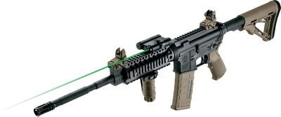 Hunting An ideal laser sight for use with firearms outfitted with Picatinny- or Weaver-type rails 3 or longer. User-friendly laser-engraved markings on the rugged aircraft-grade aluminum housing make operation and adjustments easy. The green laser can be seen up to 100 yards away in daylight and up to a mile away at night. Adjust windage and elevation with hex drive screws protected by covered turret caps. One CR-123 battery provides more than six hours of continuous operation. A recessed activation selector can be changed to off, constant on and momentary on. The momentary-on feature is used with a 2 tape remote switch connected to the sight by a 10 braided cord. The remote can be positioned precisely where you want it on your firearm. Dimensions: 3L x 2.43W x 1.37H. Weight: 5.4 oz. - $119.99