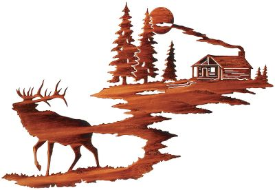 Hunting This splendid Elk with Log Cabin indoor/outdoor Wall Art piece is meticulously crafted from cold-rolled steel and will add a special outdoor accent to any dcor. The original artwork is transformed into a computer image that is then used to program a laser which cuts the steel image with amazing precision. The work is then subjected to a multistep acid-finishing process that results in a distinctive look unique to each piece. No two are exactly alike. The completed pieces have integrated steel hang tabs to facilitate hanging on the wall of your home or cabin. Made in USA. Dimensions: 18H x 31W x 1/2D. - $139.99