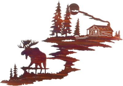 Hunting This wall art features a bull moose before a beautiful cabin scene. Re-created from original artwork, this wall art is crafted from cold-rolled steel. The original artwork is transformed into a computer image that is then used to program a laser that cuts out the steel image with amazing precision. The acid finishing process results in a distinctive look unique to each piece; no two are exactly alike. The completed piece has integrated steel hang tabs for hanging on the inside or outside of your home or cabin. Made in USA. Type: Wall Art. - $139.99