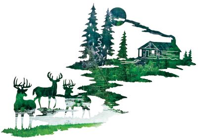 Hunting This wall art features deer and a beautiful cabin scene. Re-created from original artwork, it is crafted from cold-rolled steel. The original artwork is transformed into a computer image that is then used to program a laser that cuts out the steel image with amazing precision. The acid finishing process results in a distinctive look unique to each piece; no two are exactly alike. The completed piece has integrated steel hang tabs for hanging on the inside or outside of your home or cabin. Made in USA.Dimensions: 21H x 30W. - $139.99