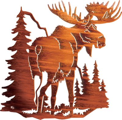 Hunting Few creatures have the commanding presence of a bull moose, and this distinctive indoor/outdoor piece will certainly dominate any wall or room. This artful depiction of a lone bull standing against a northern skyline is crafted from cold-rolled steel. The original artwork is transformed into a computer image that is then used to program a laser which cuts the steel image with amazing precision. The acid-finishing process results in a distinctive look unique to each piece. No two are exactly alike. The completed pieces have integrated steel hang tabs to facilitate hanging on the wall of your home or cabin. Made in USA. Dimensions: 30 H x 27 W x 1/2 D. - $119.99