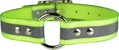 Hunting Bright, waterproof collars have the added bonus of a reflective strip that glows bright white in reflected light. Great for tracking hounds or protecting your dog from vehicles at night. Wont rot or absorb odors. Heavy-duty ring-in-center design. 1 width. Made in USA. Sizes: 19, 21, 23, 25.Colors: Sun-Glow Orange, Sun-Glow Yellow. - $5.88