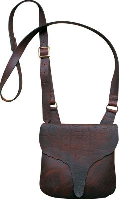A simplistic accessory for the nostalgic muzzleloader hunter. Made of bison leather with rough-hewn edges, this bag has a rustic feel thats evocative of Colonial America. The simple, one-pocket design with a long coverflap adds to its old-fashioned appeal. Another 6x3 inner pocket. The adjustable leather strap is 49 long and 1-1/4 wide with a metal buckle, making it possible to slue it across your body messenger style. Made in USA. Dimensions: 10.5H x 9.5W x 4D. - $99.99