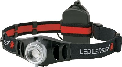 Camp and Hike Pros are thrilled with LED Lenser's H7 headlamp because of its light weight, easy-to-wear feeling and extremely bright output of 155 lumens. Near-to-far focusing options with the Advanced Focus System are possible because of a patented combination of a reflector and lens to create a light system that provides both a focused beam for long-distance needs and a spill beam for up-close reading. This single LED headlamp also features a stageless dimming function and a bezel that swivels so you don't have to. Runs for nearly five hours on high power; puts out 2.7 lumens for 63 hours on low. Takes three AAA batteries (included). Weight: 4.13 oz. - $59.99