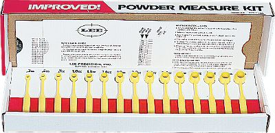 Contains 15 graduated powder dippers. Safe, cant get out of adjustment. Slide card shows grains each will dispense of every type of powder. Dippers are calibrated in cubic centimeters and have a uniform graduation. - $10.99