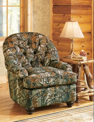 Entertainment Complete your camo living-room collection with a matching Club Chair. Plush arms, thick pillow top, supportive seat cushions and tufted pillow back design put relaxation back in your day. Stain-resistant microfiber and easy to clean. Made in USA. Dimensions: 41H x 37W x 38D.Color: Tobacco. - $479.99