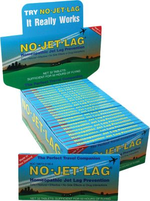 Camp and Hike Eliminate jet lag on your next trip. No-Jet-Lag is a unique homeopathic remedy with no known side effects. Its formulated to alleviate body stress and fatigue caused by long-distance travel and disruptions to your body's natural clock rhythm. Each pack includes 30 tablets (enough for 40 hours of air travel). Type: Travel Accessories. - $6.88