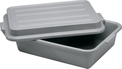 These dishwasher-safe, high-density polyethylene tubs deliver performance far past their price. Tapered sidewalls. Available with snap-on lid. Per each. Dimensions: 20 L x 15 W x 5 D. Color: Gray. Type: Meat Tubs. - $10.88