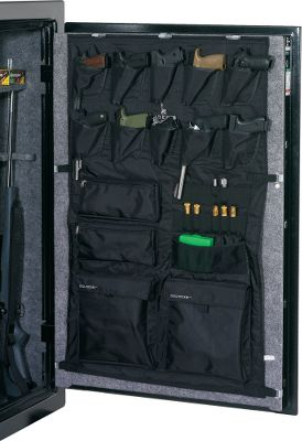 Save valuable shelf space in your gun safe by attaching this attractive holster system to the inside of the door panel. It mounts on your existing fabric-covered door panel with the included mounting brackets. Integrated holsters and pockets safely and conveniently hold handguns, magazines and accessories so you can take these items off the shelves and store them on the door. Constructed of nylon material. Fits safes with 17 cu. ft. door panels or larger. Imported. - $89.99