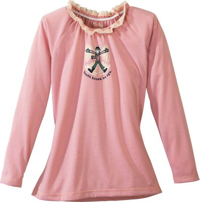 After a long day of school and play, she'll look forward to slipping into this tee at bedtime. Made of ultra-soft, flame-resistant polyester jersey, it's cut for a relaxed fit. Raglan sleeves. Lace neckline. Imported. Sizes: S-XL. Color: Petal. - $14.88