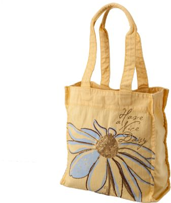 A soft, sturdy tote thats been fabric- and enzyme-washed for a broken-in look and feel. Trendy sketchbook graphics. Sturdy bottom panel. Inside zippered pocket and a flap closure. Comfort handles. Made of super-soft, 100% cotton slub. Imported. Dimensions: 13H x 12W x 5D. Color: Sunny Yellow. - $22.88