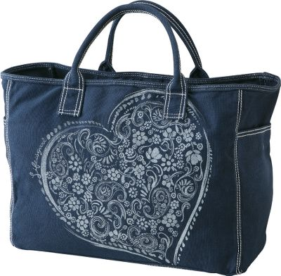 Cotton canvas tote with easy-access key ring and plenty of pockets. Two snap-close side pockets and an interior pocket. Imported.Dimensions: 12H x 17W x 7D.Color: Indigo Blue. - $29.88